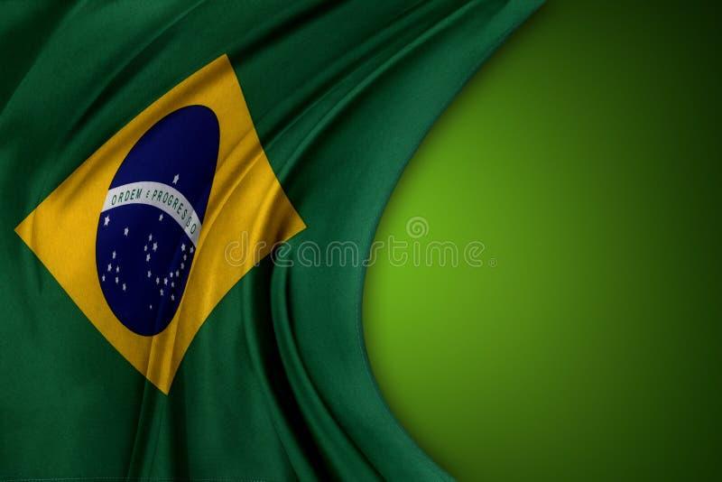 Flag. Brazilian flag on green background stock image