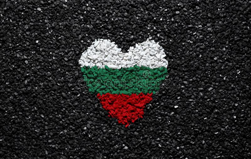 Flag of Bulgaria, Bulgarian flag, heart on the black background, stones, gravel and shingle, wallpaper stock photo