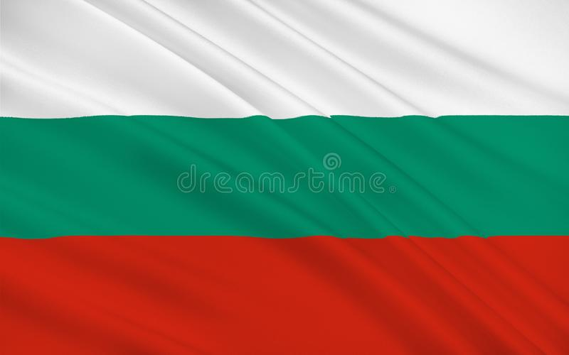 Flag of Bulgaria. Officially the Republic of Bulgaria is a country in southeastern Europe stock photos