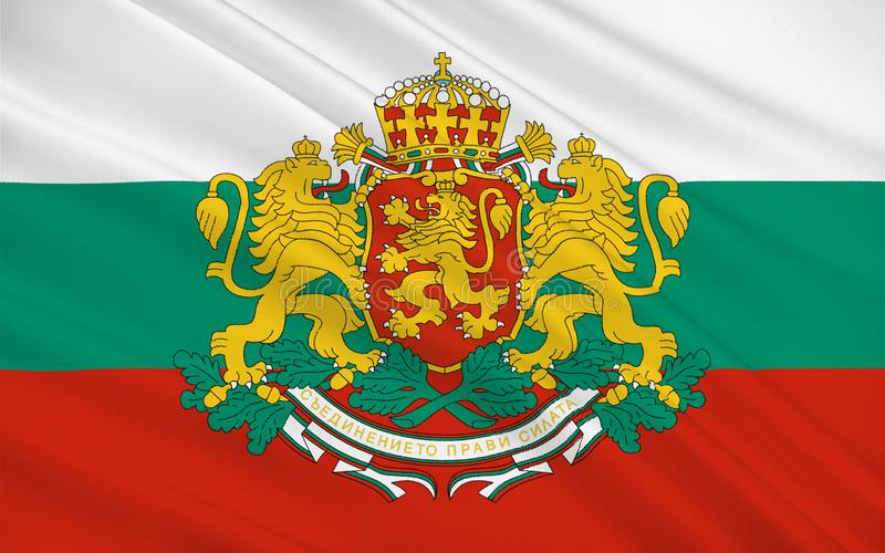 Flag of Bulgaria. Officially the Republic of Bulgaria is a country in southeastern Europe stock image