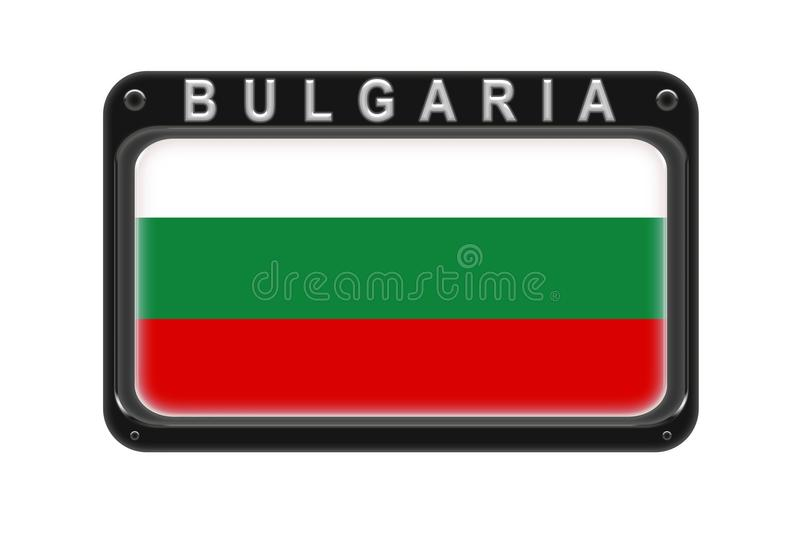 The flag of Bulgaria in the frame with rivets on white background stock illustration