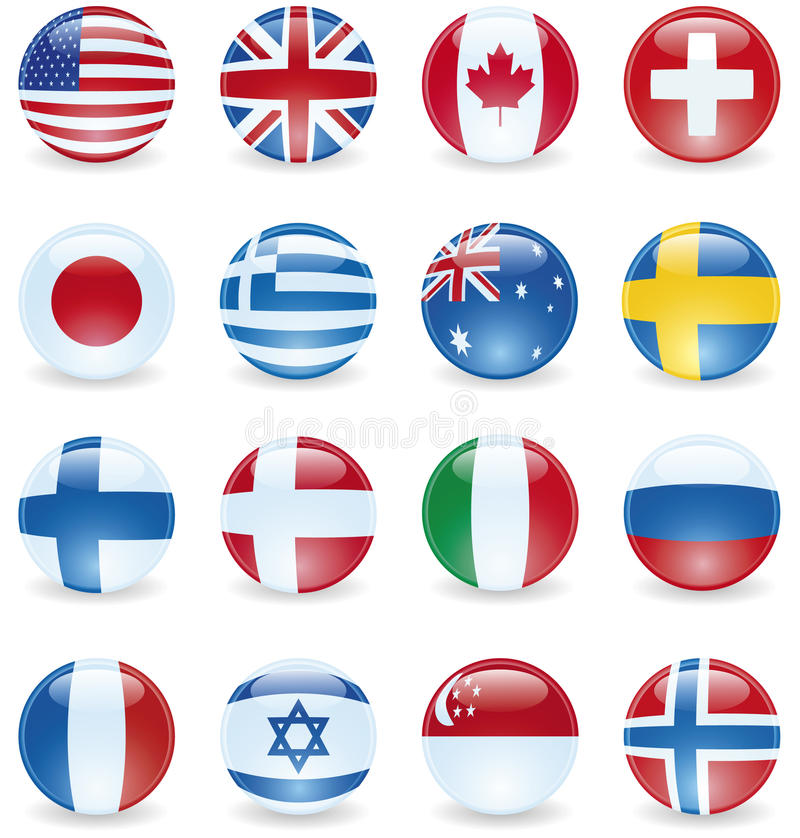 Download Flag Buttons stock vector. Image of group, illustration - 15588989