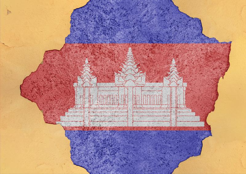 Flag of Cambodia in big broken material concrete cracked hole facade. Structure royalty free stock photos