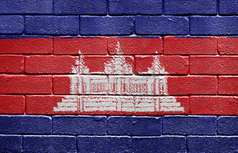 Flag of Cambodia on brick wall. Flag of Cambodia painted onto a grunge brick wall royalty free stock images