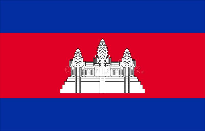 Flag of Cambodia. Vector format ai aviable red blue white temple royalty free illustration