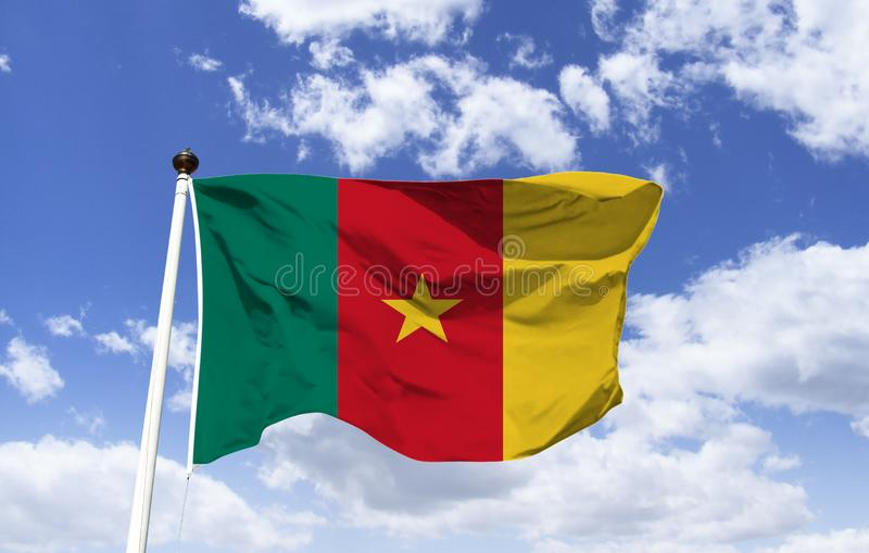 Flag of Cameroon, mockup, officially republic. Western region of Central Africa, colors make reference to pan-Africanism, the star known `star of unity.` stock photos