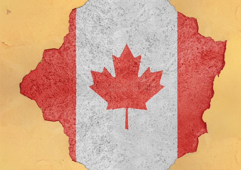 Flag of Canada in big broken material concrete cracked hole facade. Structure stock photography
