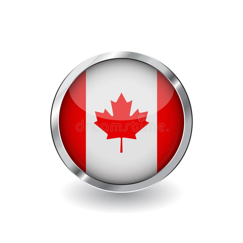 Flag of canada, button with metal frame and shadow. canada flag vector icon, badge with glossy effect and metallic border. Realist. Ic vector illustration on royalty free illustration