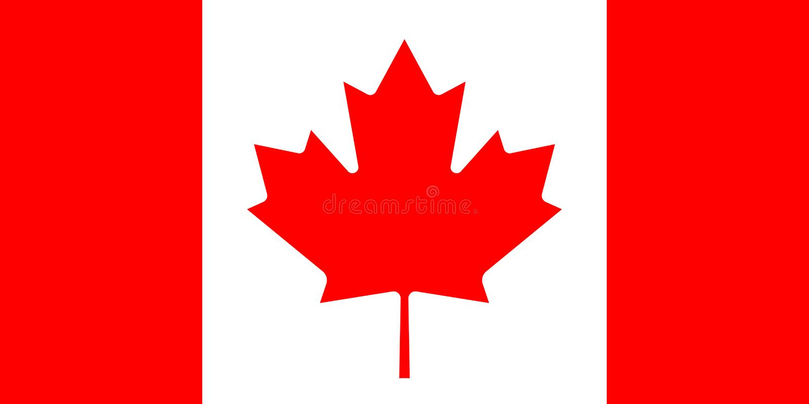 Flag of Canada in national official colors and proportions with a maple leaf, . Flag of Canada in national official colors and proportions with a maple leaf royalty free illustration