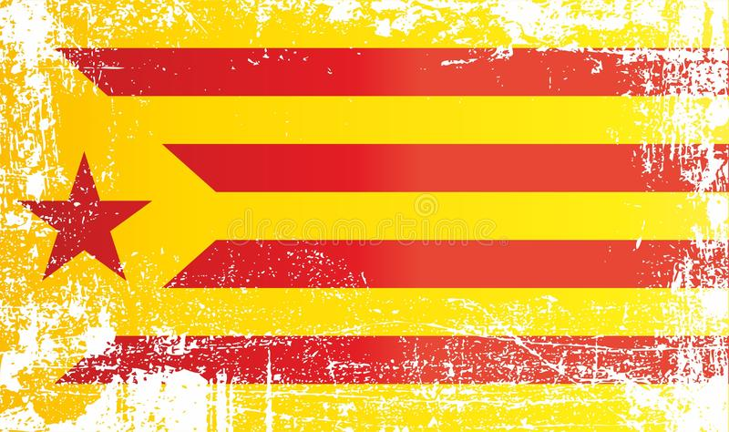 Flag of Catalan separatism, Estelada Blava, Kingdom of Spain. Wrinkled dirty spots. Can be used for design, stickers, souvenirs vector illustration