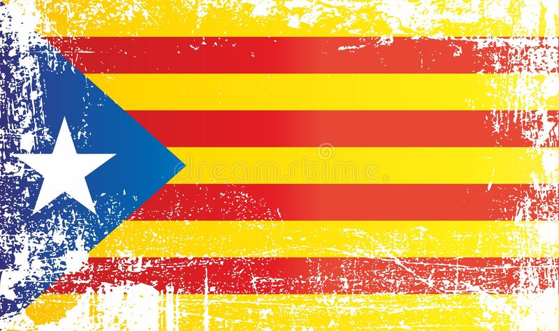 Flag of Catalan separatism, Estelada Blava, Kingdom of Spain. Wrinkled dirty spots. Can be used for design, stickers, souvenirs royalty free illustration
