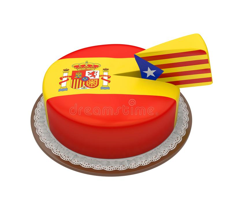 Flag of Catalonia as Piece of Spanish Cake royalty free illustration