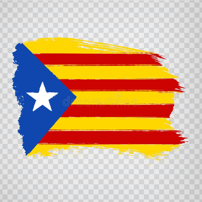 Flag Catalonia from brush strokes. Flag Autonomous Community of Catalonia on transparent background for your web site design, logo stock photos