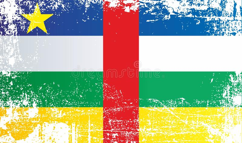 Flag of the Central African Republic. Wrinkled dirty spots. Can be used for design, stickers, souvenirs vector illustration
