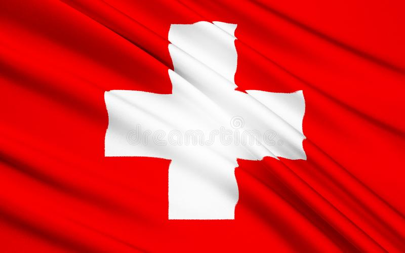 Flag of Switzerland. The flag of the central European country of Switzerland. It was introduced as the official Swiss national flag in 1889 stock photo