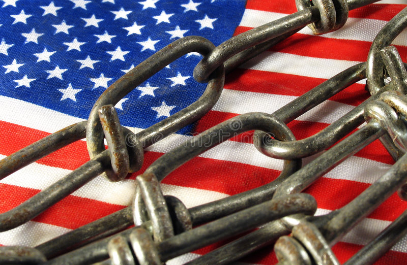 Flag in chains royalty free stock image