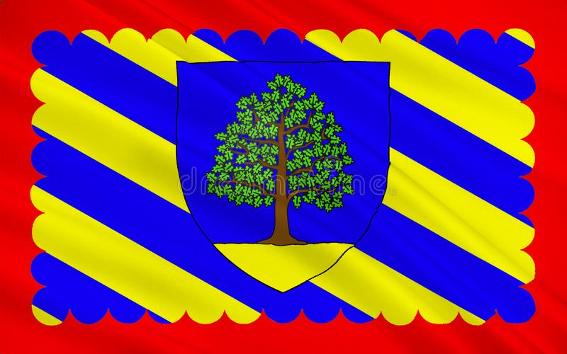 Flag of Chateau-Chinon, France. Flag of Chateau-Chinon is a commune in the Nievre department in France. It is a sub-prefecture of the department stock illustration