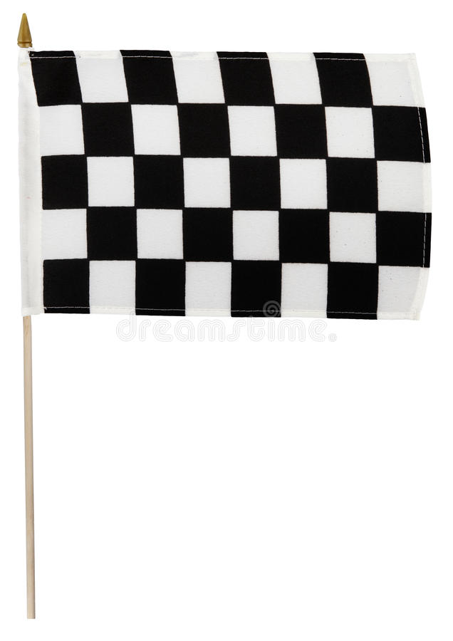 Flag. Checkered racing flag on pole. White background royalty free stock images