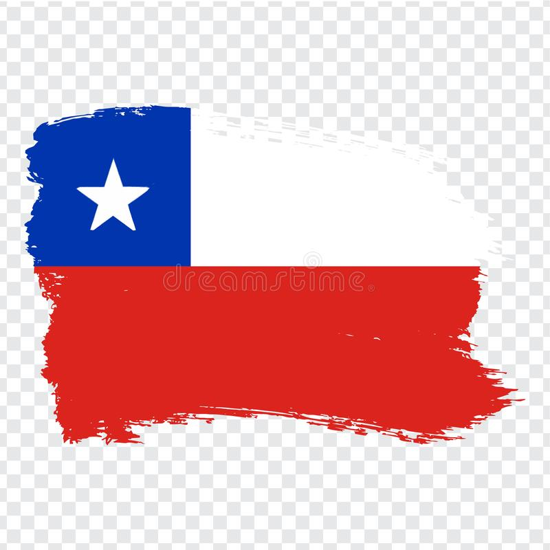 Flag Chile, brush stroke background. Flag of Chile on transparent background. Stock vector. Flag for your web site design, logo,. App, UI. Vector illustration vector illustration
