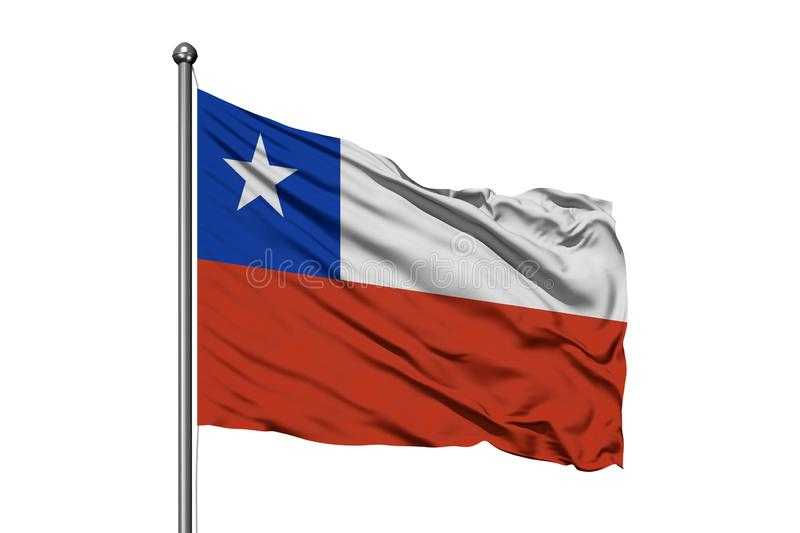 Flag of Chile waving in the wind, isolated white background. Chilean flag vector illustration