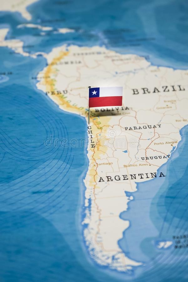 The Flag of Chile in the World Map stock photos