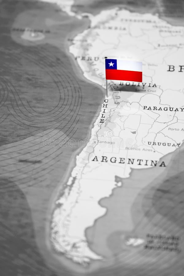 The Flag of Chile in the World Map royalty free stock photo