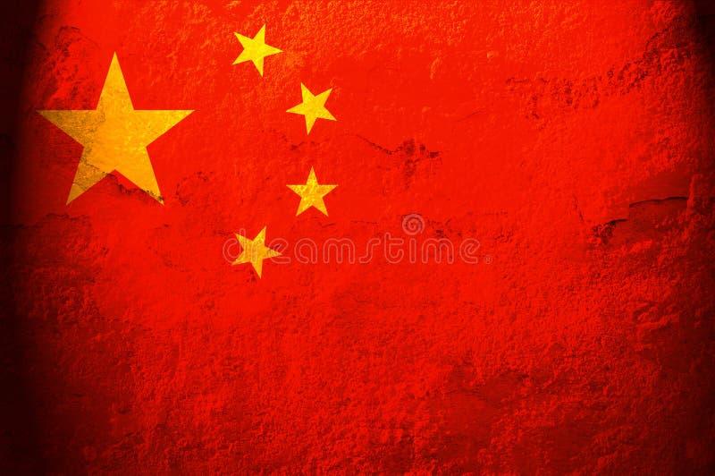 Flag of China. Grunge background edit stock illustration