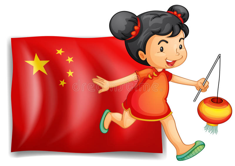The flag of China at the back of the young Chinese vector illustration