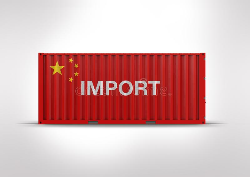 Flag of China, in 3D rendering, container. Key element in globalization, reduces costs and speeds up the logistics, transported by ship, used by importers and stock photo