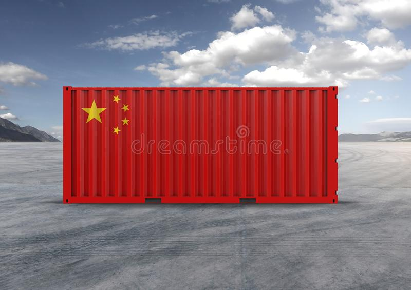 Container in 3D rendering, Flag of China royalty free illustration