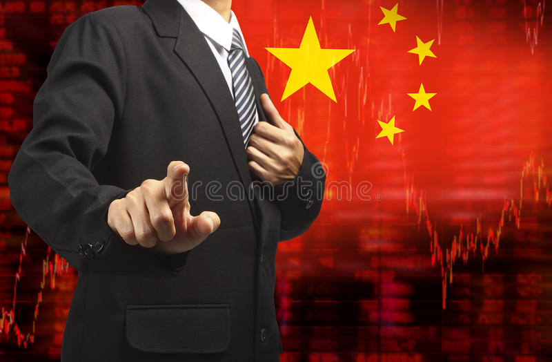 Flag of China downtrend stock data diagram with business man pushing. On a touch screen interface analyze solution ideas concept design vector illustration