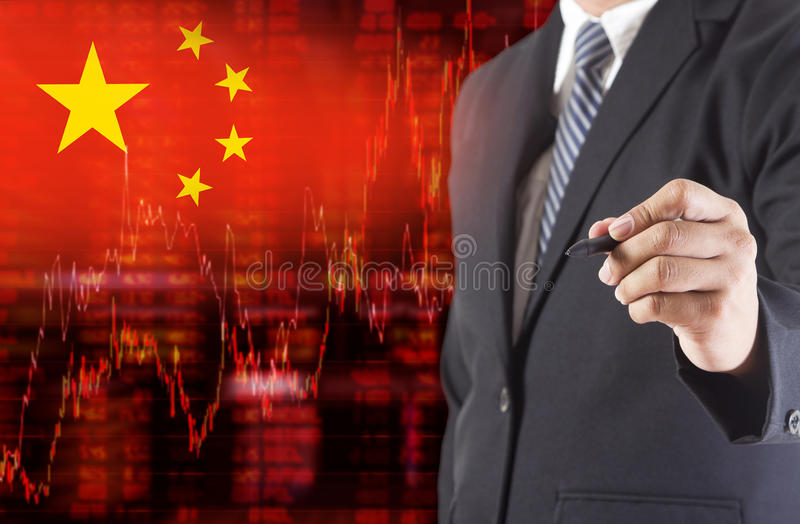Flag of China downtrend stock data diagram with businessman writing. Drawing on the screen royalty free illustration
