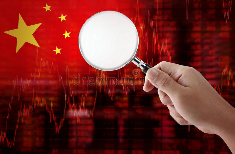 Flag of China downtrend stock data diagram with hand holding magnifying. Glass analyze solution ideas concept design stock illustration