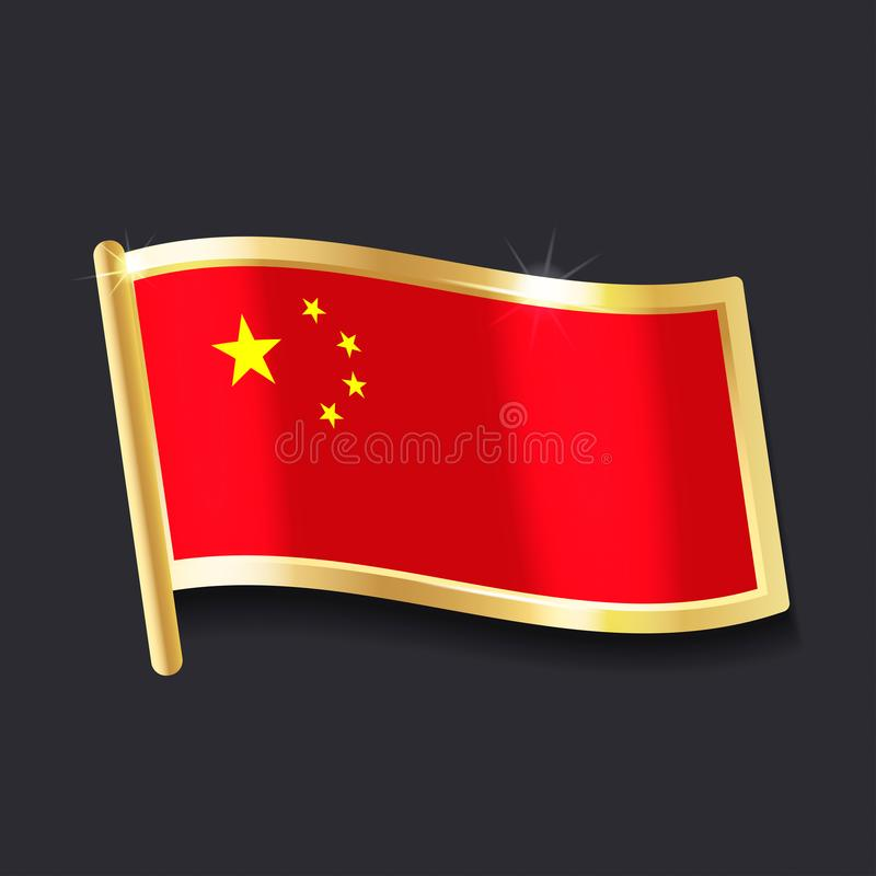 Flag of china in the form of badge royalty free illustration