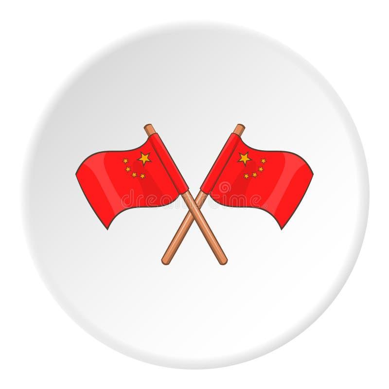 Flag of China icon, cartoon style stock illustration