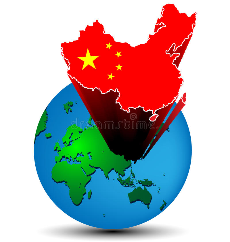 Flag China map on the earth royalty free illustration