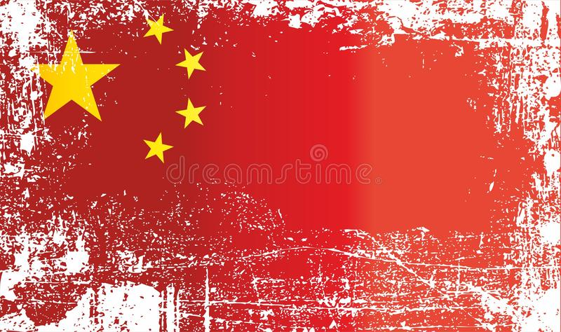 Flag of China, People`s Republic of China. Wrinkled dirty spots. Can be used for design, stickers, souvenirs royalty free illustration