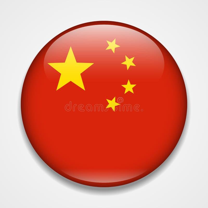 Flag of China. Round glossy badge stock illustration