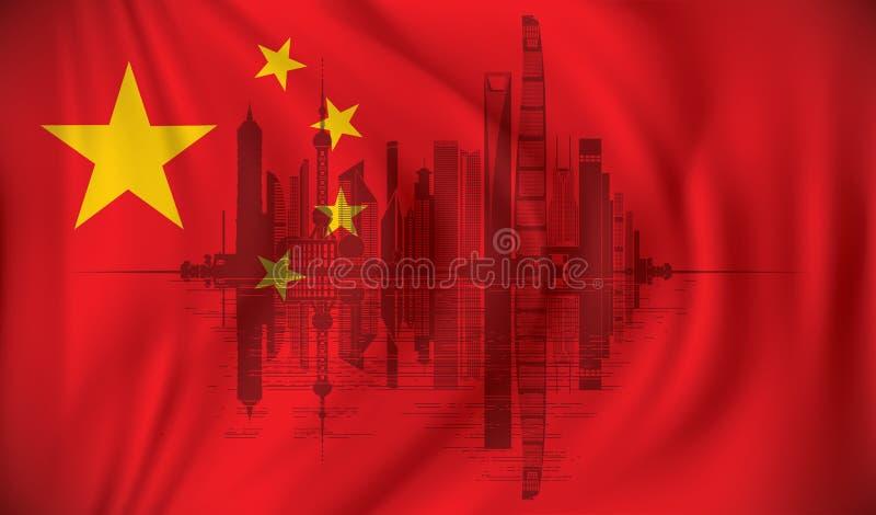 Flag of China with Shanghai skyline royalty free illustration