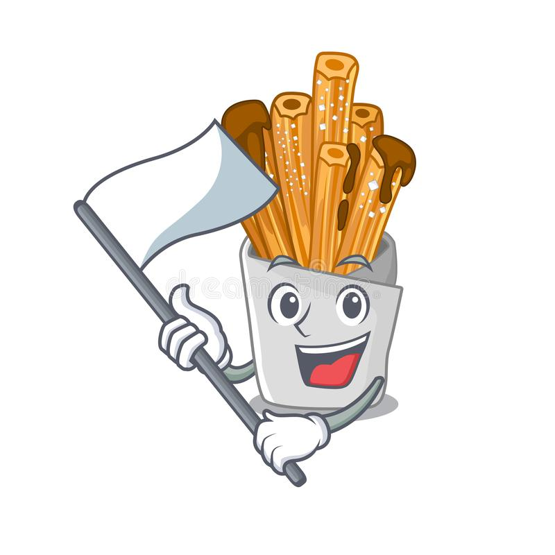 With flag churros in the wooden character jar. Vector illustration royalty free illustration