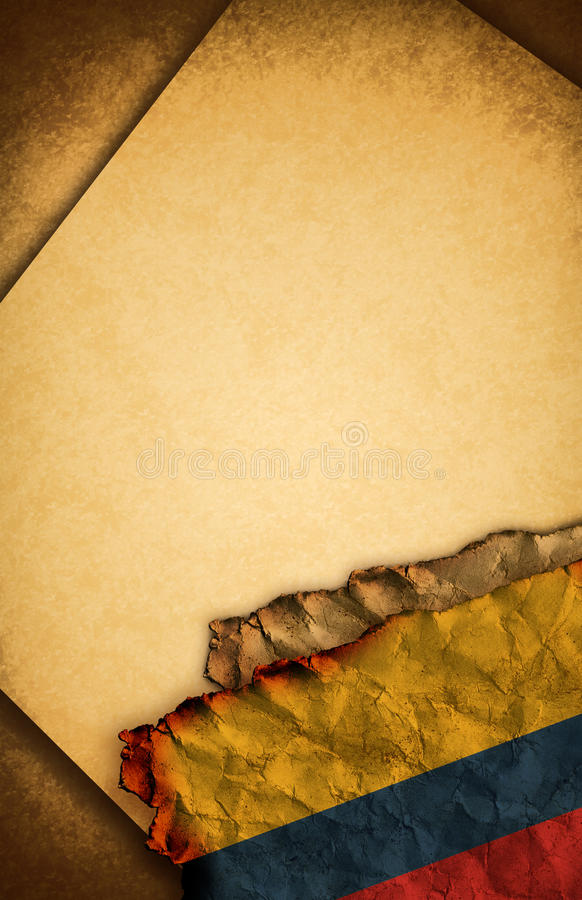 Flag Of Colombia And Old Paper Stock Photography