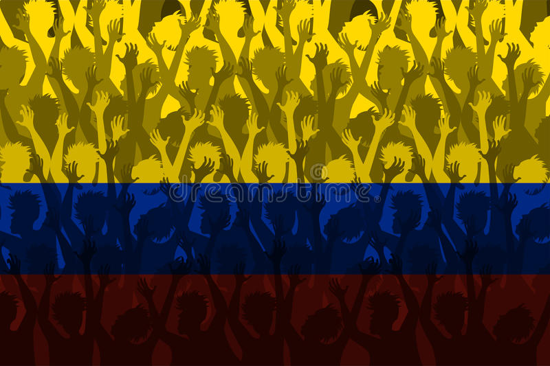 Flag of Colombia over Supporting fans. Flag of Colombia with Crowd cheering awaiting the world cup vector illustration