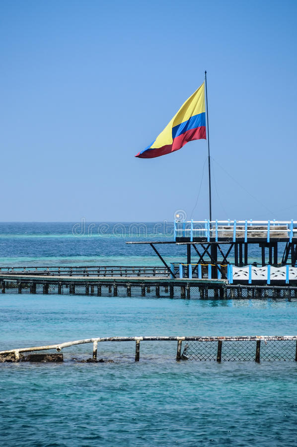 Download Flag Of Colombia Over The Turqoise Ocean. Cartagena De Indias, South America. Stock Photo - Image: 33884640