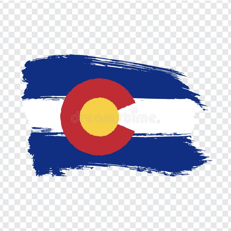 Flag of Colorado from brush strokes. United States of America.  Flag Colorado on transparent background for your web site design,. Logo, app, UI. Stock vector stock illustration
