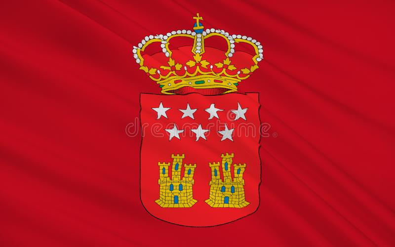 Flag of The Community of Madrid, Spain. Flag of The Community of Madrid is one of the seventeen autonomous communities regions of Spain. It is located at the stock photography