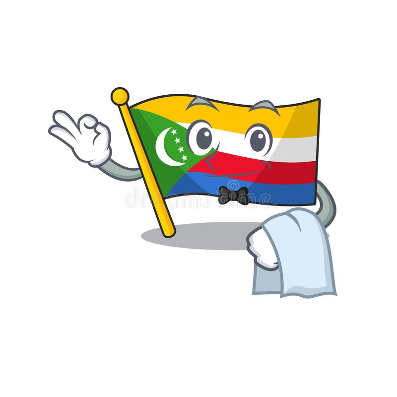 Flag comoros Character on A stylized Waiter look royalty free illustration