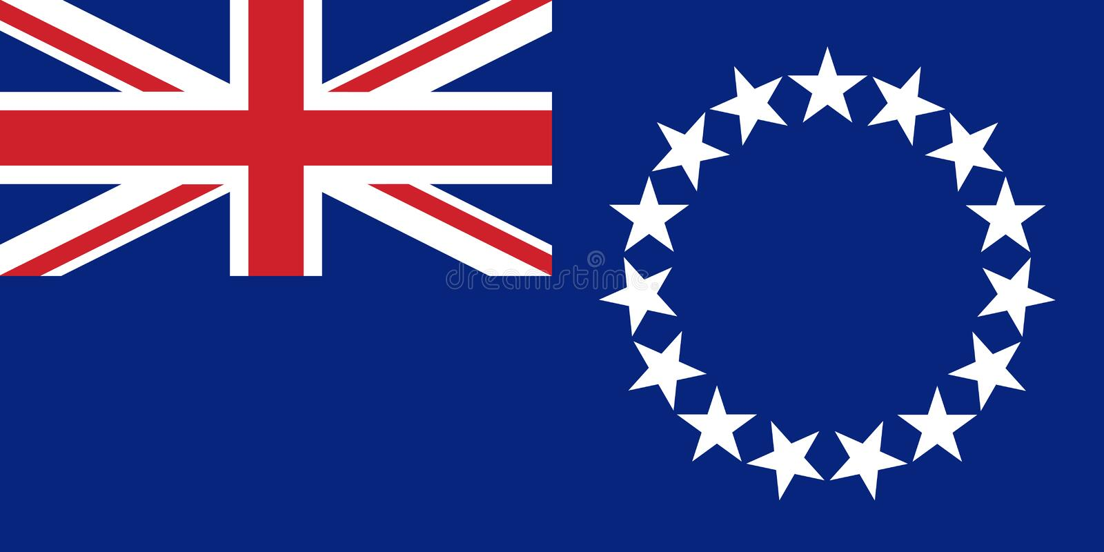 Flag Cook Islands in official rate, vector royalty free illustration