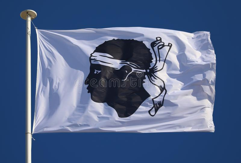 Flag of Corsica. In the sun stock images