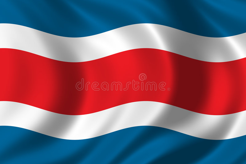 Flag of Costa Rica. Waving in the wind royalty free illustration