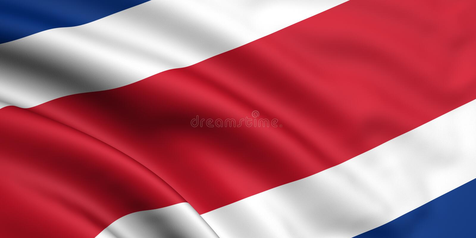 Flag Of Costa Rica. 3d rendered and waving flag of costa rica vector illustration